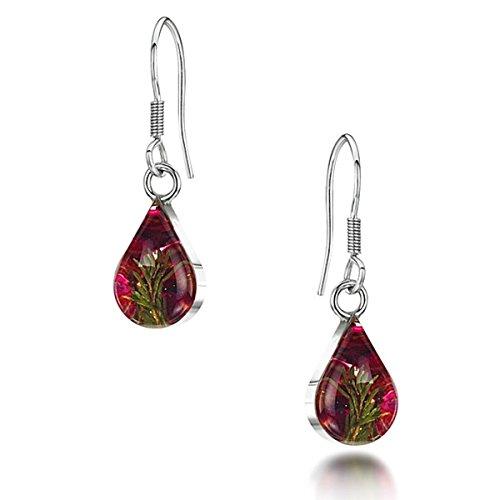 Bijoux en argent avec fleurs véritables - boucles d'oreilles pendantes - erica rose - forme goutte - boîte cadeau