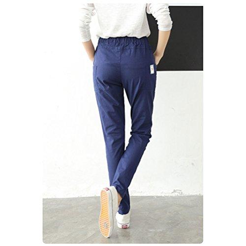 Zhhlinyuan Fashion Pantalones Women Retro Big Size Straight Pants Loose Rope Waist Slim Cotton Linen Harem Pants Green