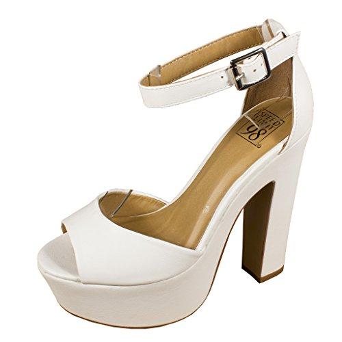 Speed Limit 98 Women's Okaley Peep Toe Chunky Heel Ankle Strap Platform Sandal, white leatherette, 8.5 M US
