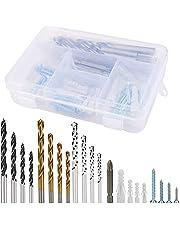 94 Stks Boorbits Set Geribbelde Plastic Muur Anker en Schroeven voor Home Maintenance Reparatie Tools, Heavy Duty Muur Ankers Schroef Assortiment Kit met Organizer Box