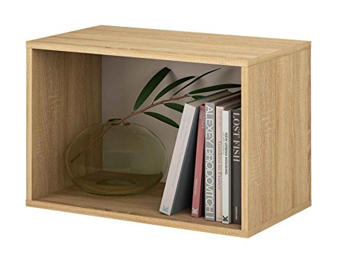 Samblo Mizu Cubo Apilable Rectangulo, Roble y Gris, 40x60x33 cm