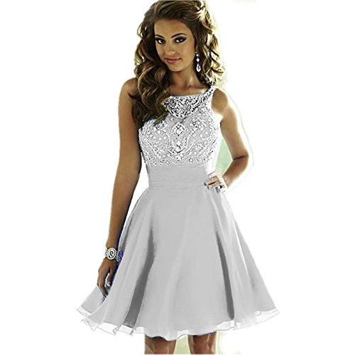 Short Sparkly Homecoming Juniors for Women's Prom Dresses Dresses MEILISAY Silver Beading 2018 YXxBqpw5