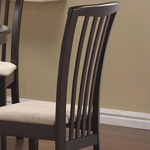 Brannan Slat Back Side Chairs with Upholstered Seat Cappuccino and Cream (Set of 2) by Coaster Home Furnishings (Image #2)