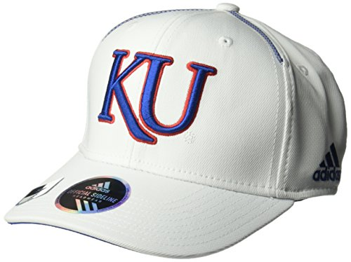 Kansas Jayhawks Coaches - adidas NCAA Kansas Jayhawks Adult Men Coach's Structured Flex, Small/Medium, White