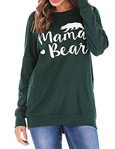 (Women Casual Long Sleeve Shirts Print Loose Crew Neck Mama Bear Pullover Sweatshirt Tops Blouse with Pockets Green)