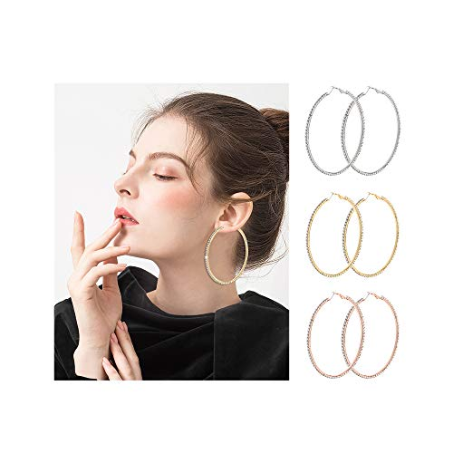 BSJELL Big Hoop Earrings Set of 3 Large Rhinestone Hoop Earrings Gold/Rose Gold/Silver Plated Fashion Bridal Wedding Jewelry for Women Girls (3 Pairs) ()