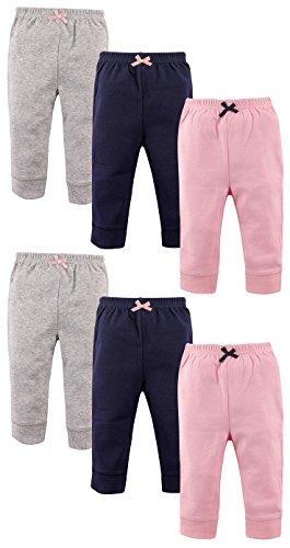 Luvable Friends Girls 6 Pack Tapered Ankle Pants, Light Pink/Navy/Grey, 0-3 Months ()