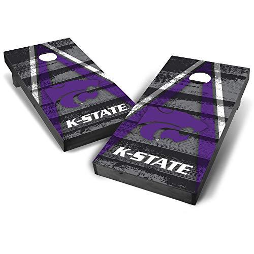 Wild Sports NCAA College Kansas State Wildcats 2' x 4' Grey Authentic Cornhole Game Set - Vintage Triangle Design