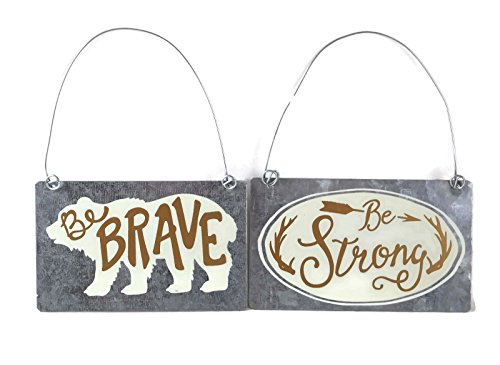 (Collins Be Brave Bear and Be Strong Antler Tin Decorative Hanging Sign Ornament Set)
