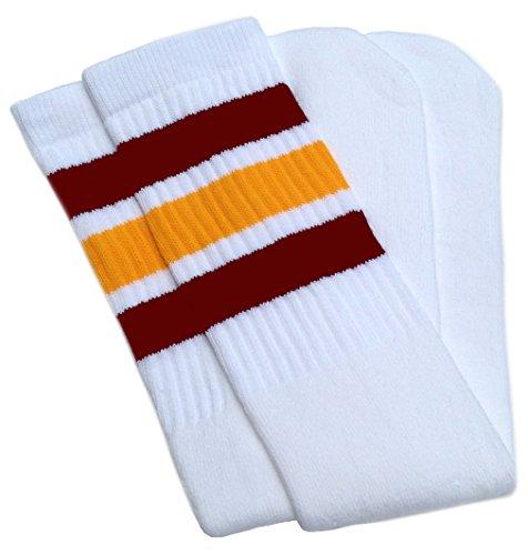 (SKATERSOCKS Skater Socks22 Knee high White Tube Socks with Maroon-Gold Stripes Style 1)