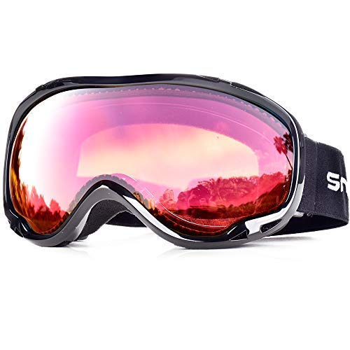 HUBO SPORTS OTG Skiing Snow Goggles with UV Protection, Ski Goggles of Dual Lens with Anti Fog for Men, Women (BBRose) ()