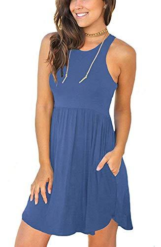 MOLERANI Women's Summer Casual T Shirt Dresses Sleeveless Swing Dress Beja Blue ()