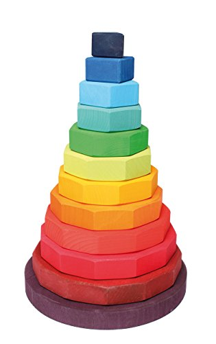 - Grimm's Giant Geometric Shape Rainbow Stacking Tower - Wooden Stacker Toy, 12 Pieces (From Triangle to 13-sided)