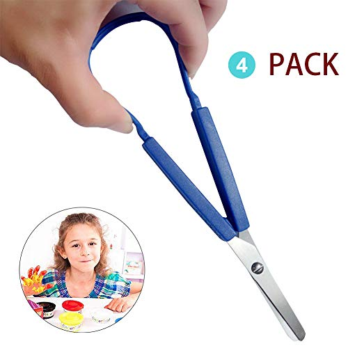 Open Loop Scissors - Supplies Loop Scissors for Kids and Adults Colorful Looped Easy Grip, Easy Open, Adapted Scissors Right and Lefty Support (4 Pack)