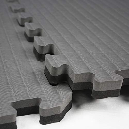 IncStores - Tatami Foam Tiles - Extra Thick mats Perfect for Martial Arts, MMA, Lightweight Home Gyms, p90x, Gymnastics, Yoga and Cardio (Black/Grey, 1 (3'x3') Tile, 9 Sqft + Borders) by IncStores (Image #5)