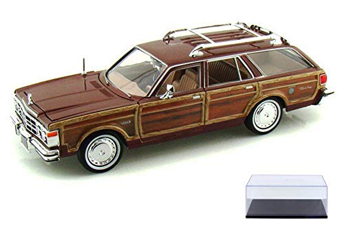 Diecast Car & Display Case Package - 1979 Chrysler Lebaron Town & Country Wagon, Red with Woodie Siding - Showcasts 73331 - 1/24 Scale Diecast Model Car w/Display Case