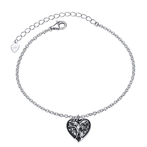 S925 Sterling Silver Heart Urn Memorial Ashes Keepsake Exquisite Cremation Tree of Life Bracelet for Women Girl Jewelry