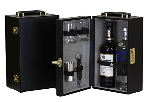 Trav-L-Bar Vinyl 2-Bottle Travel Bar, Black
