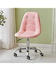 OFCASA skrivbordsstol för hemmakontoret, rosa konstläder, datorstol med justerbar höjd, svängbar stol för skrivbord, hemmakontor