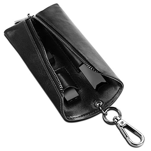 SITHON Vape Case with Pods Holder for JUUL - Portable PU Leather Vape Holster E-CIG Carrying Cover with Carabiner Keychain, Black