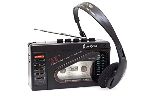 Broksonic Walkman AM/FM Stereo Cassette Recorder with Dynamic Stereo Headphones (Walkman Cassette Player Recorder)