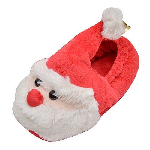 Père Coton Yonglan en épaisses Rouge Chaussons bande Pantoufles Femme Pantoufles Noël de Flat BG coton dessinée Intérieur Pantoufles EEqIU