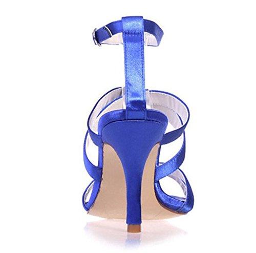 Hochzeit Büro Zehen Blue Braut Blau EU38 LUCKY Stlletto A Wasserdicht Ferse Frauen Satin High PU Sandalen Dating Heels Geschenk Plattform CLOVER Offene Mädchen 0g0AO