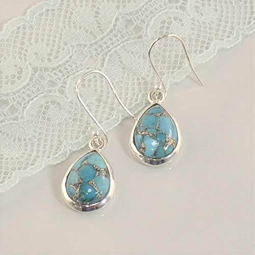Sivalya 3.00 Ctw Pear Cut Blue Turquoise Earrings in 925 Sterling Silver - Genuine Teardrop Shape Gemstone Solid Silver French Hook Dangle Earrings 1.5