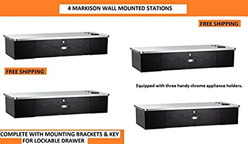 MULTI Styling Stations 4 MARKISON BLACK w METALIC TOP Wall Mount Station for Beauty Salon Styling Spa by Berkeley
