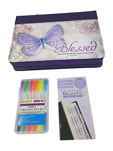 Bible Accessories Set Includes Large Bible Book Cover Case Non Bleed Bible Highlighters or Markers (Pack of 6) and Bible Tabs for Old and New Testament. Bundle 3 Items.