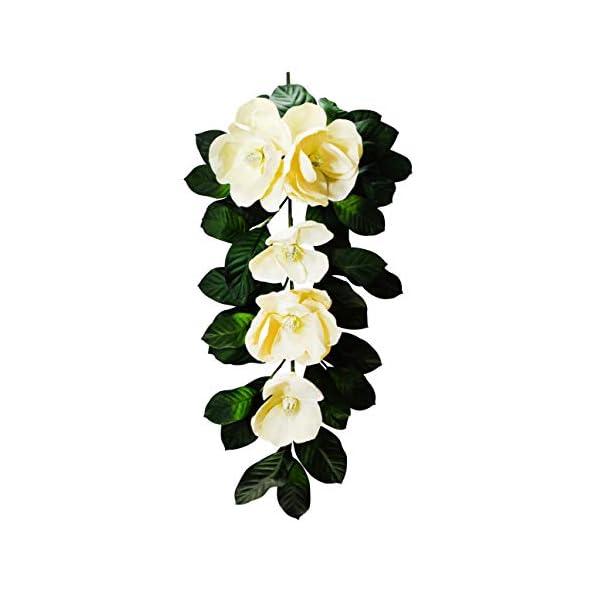 V-Max Floral Decor 30 inches Silk Magnolia Teardrop Garland for Wedding Party Home Garden, Wedding Arch Garden Wall Decoration, Home Decoration – Cream