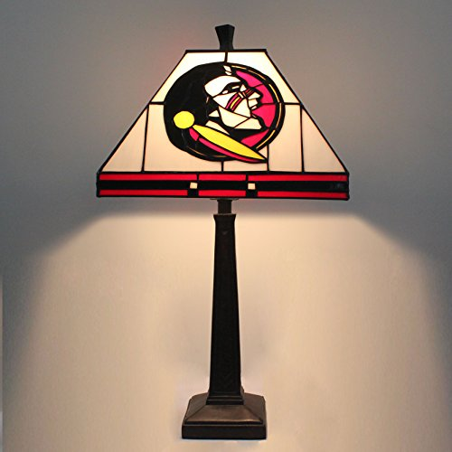 Royal- 12-inch NCAA Florida State Seminoles Stained Glass Square Table Lamp