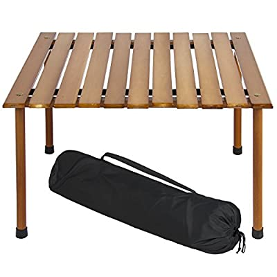 Best Choice Products 28x28in Foldable Outdoor/Indoor All-Purpose Wooden Table for Picnics, Camping, Beach, Patio w/ Carrying Case - Easily folds out into a beautiful surface, ideal for active outdoor use like camping, picnics, outdoor concerts, backyard parties, and more This compact, lightweight, and portable table has a height of just 16.5in so there's no need for chairs Made of water-resistant hardwood that is made to last - patio-tables, patio-furniture, patio - 41fSmD9jKiL. SS400  -