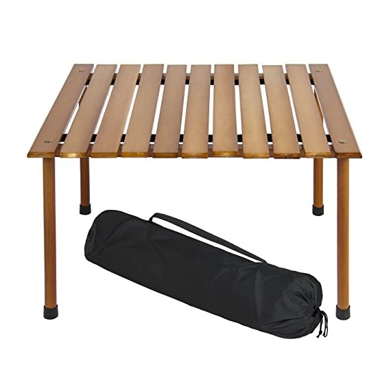 Best Choice Products 28x28in Foldable Outdoor/Indoor All-Purpose Wooden Table for Picnics, Camping, Beach, Patio w/ Carrying Case - PERFECT FOR OUTDOOR USE: Easily folds out into a beautiful surface, ideal for active outdoor use like camping, picnics, outdoor concerts, backyard parties, tailgating, and more COMPACT AND LIGHTWEIGHT: This small outdoor table has a height of just 16.5 inches so there's no need for chairs. Use it at the park or beach and simply sit on the ground! DURABLE, WATER-RESISTANT HARDWOOD: Made to last even through use outdoors, great for holding food and snacks, grilling supplies, or even board games - patio-tables, patio-furniture, patio - 41fSmD9jKiL. SS570  -