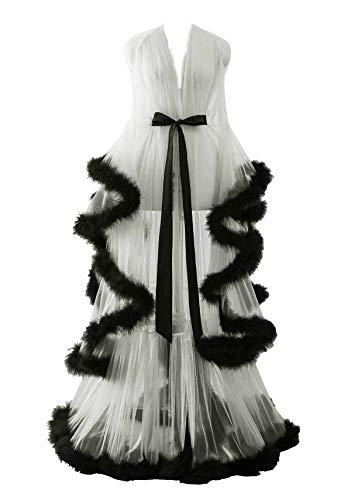Changuan Sexy Illusion Long Lingerie Robe Nightgown Bathrobe Sleepwear Feather Bridal Robe Wedding Scarf Ivory-Black S/M