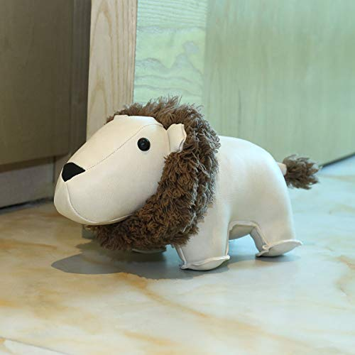 Tooarts Leather Lion Door Stop Animal Toys Book Holder Cute Household Doorstop Decorative Door Stopper, Gift Home Decoration