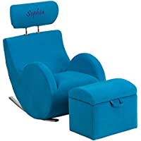 Flash Furniture Personalized Hercules Series Blue Fabric Rocking Chair with Storage Ottoman, Turquoise