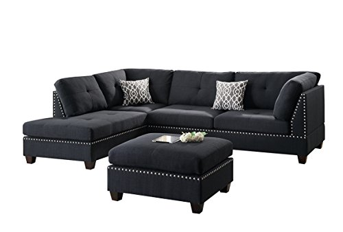 Poundex Bobkona Viola Linen-like Polyfabric Left or Right Hand Chaise SECTIONAL Set with Ottoman in - Sofa Sectional Set Plush