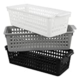 Utiao Plastic Storage Organizer Basket Trays, White, Grey, Black(6 Packs)