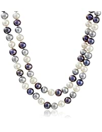 Sterling Silver Two-Rows High Luster Genuine Cultured Freshwater Pearl Strand (8-9mm), 18""