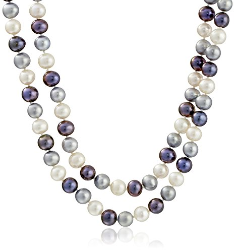 Sterling Silver Two-rows 8-8.5mm Multi-dark Genuine Cultured Freshwater High Luster Pearl Strand, 18'' by Amazon Collection