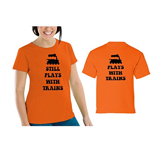 We Match! Plays with Trains & Still Plays with Trains Women's Scoop Neck & Children's Matching T-Shirt Set (18M Child, Women's Cut 2XL, Orange) ()
