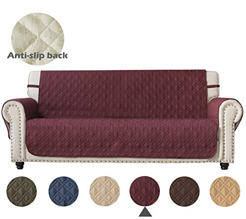 Burgundy Leather Furniture - Ameritex Sofa Cover with Anti-Skip Dog Paw Print 100% Water-Resistant Quilted Furniture Protector Slipcover for Dogs, Children, Pets Sofa Slipcover for Leather Couch(Pattern1:Burgundy, Sofa)