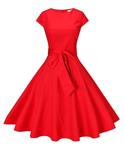 Ploka Dot (Funray Vintage 1950s Audrey Hepburn Style Cocktail Party Swing Dress Ploka Dots & Pure Color)