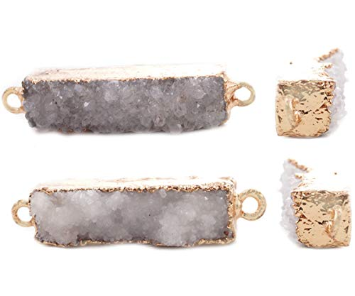 1pc Clear White Crystal Natural Druzy Ice Quartz Agate Gemstone Stone Gold Plated Brass Rectangle Bar Connectors Pendants Metal Findings