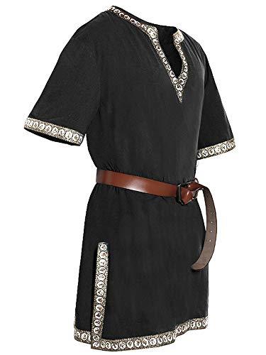 Mercenary Halloween Costumes (Mens Halloween Medieval Viking Pirate Tunic Shirt V Neck Renaissance Costume Short Sleeve Knight Mercenary Tops)