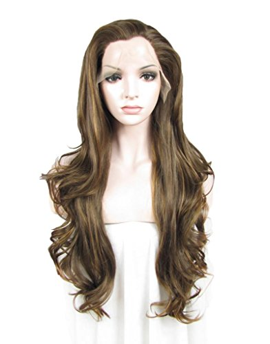 Imstyle Kim Kardashian Hairstyle Wavy Natural Brown Wig Swiss Lace Synthetic Lace Front - Kardashian Kim Styles