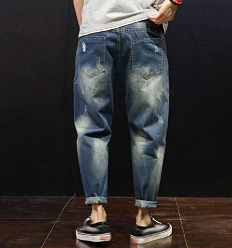 Casual Slim Uomo Da In Fit Comode Abiti Taglie Stil3 Jeans Larghi Denim Pantaloni Con Strappati Cono w1axtyBHq