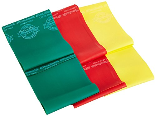TheraBand Professional Non-Latex Resistance Bands, Set of Three Beginner Level Flat Elastic Bands for Strength Training, Rehabilitation, Physical Therapy, Flexibility, Stretching, Yellow & Red & Green
