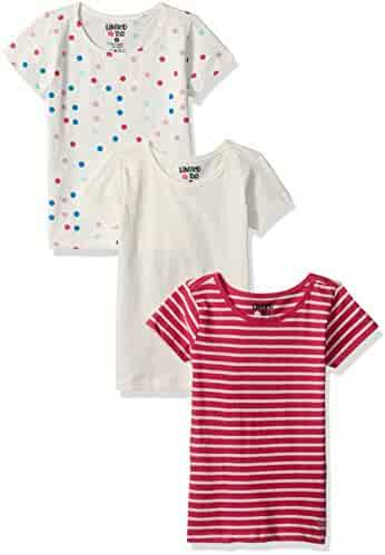 Limited Too Toddler Girls' 3 Piece Short Sleeve Tee Print, Stripe and Solid Pack